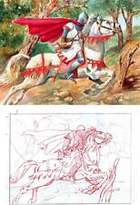 Der KÖNIGLICHE REITER Der BOTE - Blas GALLEGO - Handsignierte ÖL-Malerei (MGM)