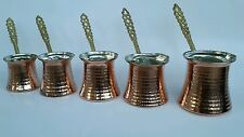Set of 5 Turkish Handmade Copper Pot Coffee Maker - Cezve,Ibrik FREE SHIPPING