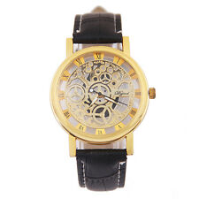 2017 Mens Stainless Steel Automatic Mechanical Gear Skeleton Sport Wrist Watch