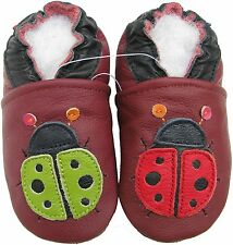 carozoo ladybug dark red 2-3y soft sole leather toddler shoes