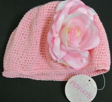 POPATU Beanie Knitted FLOWER Hat Cap Toddler Baby Size S Small Cotton **NWT**