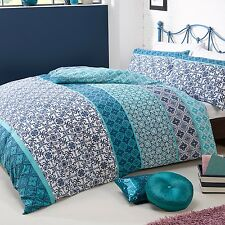 SINGLE Reversible Duvet Set Moroccan Tile Teal Turquoise Blue White Pattern NEW