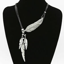 Large abstract feather leaf crystal tassel statement necklace black leather cord