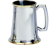 1Pint Pewter Tankard Plain With Brass Glass Base