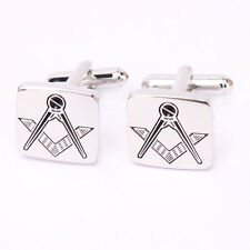 New Simple yet Stylish Rare Engrave Masonic Logo Design Black Silver Cuff Links