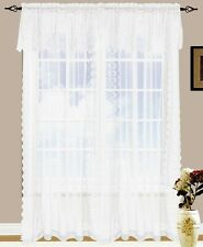 Set of 2 Jessie Lace and Sheer Curtain Drapery Panel with Attached Valance 84 L