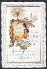 SANTINO 132 EUCARISTIA HOLY CARD IMMAGINETTA RELIGIOSA PIZZO LACE EDGED CANIVET
