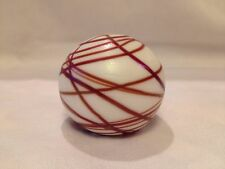 art glass paperweight ~ signed Vitrix 1982 ~ Pearl White with Brown Swirls