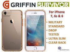 Genuine Griffin Survivor Slim DropProof Case Cover For iPhone 7/6s/6 Clear Gold
