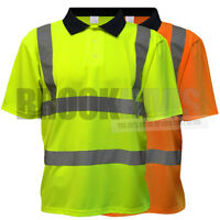 Hi Vis Viz Polo Shirt High Visibility Yellow Orange Safety No Sweat T-Shirt