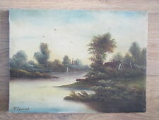 "ANTIQUE VICTORIAN OIL ON CANVAS RIVER LANDSCAPE SIGNED R.GRONLAND ""16 X 12"""