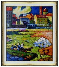 Framed Oil Painting Kandinsky's Munich-Schwabing with Church Repro, 20x24in
