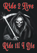 """Grim Reaper Decal Bumper Sticker Personalize Gifts 6x8"""" Skull Any Text & Color"""