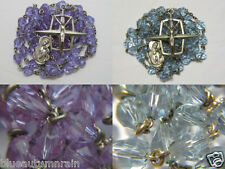 † VINTAGE STERLING PURPLE LAVENDER CHANGING TO BLUE ALEXANDRITE GLASS ROSARY †