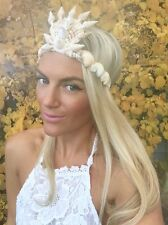 Crema De Concha De Mar sirena Corona Hair Head Band Choochie Choo Playa Boho Hippy
