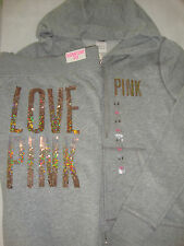 Victoria's Secret Love PINK Ombre Sequin Bling Grey Hoodie Jacket Pants Large L