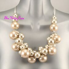 Unusual Knotted Jumbo Oyster Pearl Baubles Chic Gyspy Boho Retro Ribbon Necklace