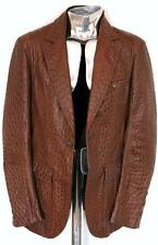 Mainline Roberto Cavalli Ostrich Skin Leather Jacket Brown EU48 Medium RRP£9000