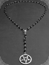 New Metal Skull Rosary Necklace with Pentagram Gothic Jewellery Goth Wiccan