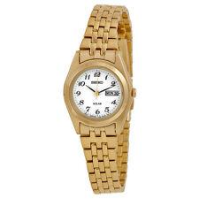 Seiko Solar White Dial Gold-tone Ladies Watch SUT118