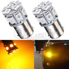 2x P21W 1156 BA15s 5050 LED 13-SMD Tail Brake Turn Signal Rear Bulb YELLOW DC12V