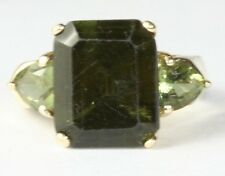 GORGEOUS 10K GOLD 5.75 CARAT GREEN TOURMALINE RING SIZE 6
