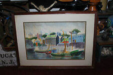 Lovely Nautical Water Color Painting Small Boats Docking-Waterfront Buildings