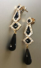 18ct yellow gold, Art Deco style, black onyx and diamond pendant earrings