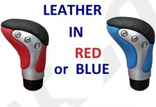 RED or BLUE REAL Leather Car Gear stick Knob nob - HIGH QUALITY