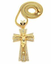 """MENS HIP HOP ICED OUT GOLD LARGE CROSS PENDANT W/ 36"""" FRANCO CHAIN NECKLACE"""