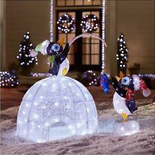 """48"""" LED Lighted Igloo with Fishing Penguins Sculpture Christmas Yard Decor (New)"""