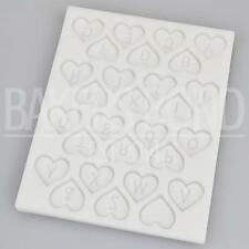 Love Heart Alphabet Letter Silicone Mould Fondant Sugarcraft Wedding Cake Mold