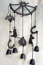 Broken Wheel Wind Chime Cast Iron With Boots, Saddles, Hats Western Decor