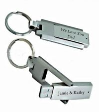 PERSONALIZED SILVER 16GB USB FLASH DRIVE KEYCHAIN CUSTOM ENGRAVED FREE Key Chain