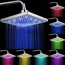 "8"" Bathroom LED Light Rain Top Shower Head Multi-colors Changing Square"