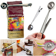2X Cup Ground Coffee Measuring Stainless Steel Spoon Scoop With Bag Sealing Clip
