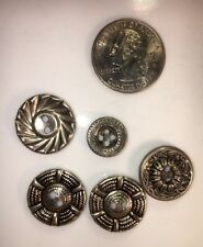 Small Lot of Vintage Estate Sale Silver Color Interesting Buttons