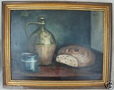 VINTAGE OIL ON BOARD STILL LIVE WINE & BREAD PAINTING SIGNED FRAMED