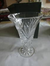 "GALWAY Irish Crystal Clifden 5"" Footed Vase #25470 in Original Box"