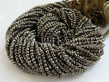 "Full 13"" strand natural golden PYRITE faceted gem stone rondelle beads 3mm"