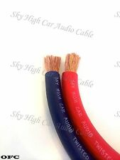 25 ' ft OFC 2/0 Gauge AWG 12.5' RED / 12.5' BLUE Power Ground Wire Sky High ft