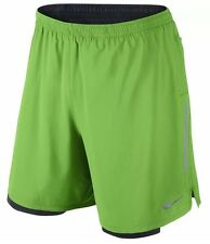 "NEW NIKE DRI FIT 7"" PHENOM 2 IN 1 RUNNING SHORTS GREEN MENS -SZ LG- 683279 361"