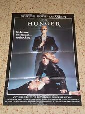 The HUNGER Full size ORIGINAL 1983 Movie Poster David Bowie, Susan Sarandon cult