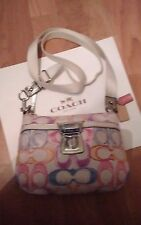 COACH Poppy Dream C Multi*Color Canvas w/Gold Trim Cross Body Bag
