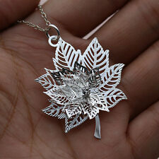 """Lady Silver Maple Leaf Rhinestone Pendant Charm Necklace 20""""Chain Jewellery Gift"""