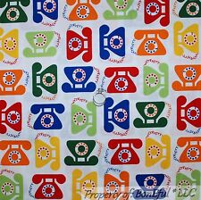 BonEful Fabric Cotton Quilt White Red Blue Telephone Old School Phone VTG SCRAP