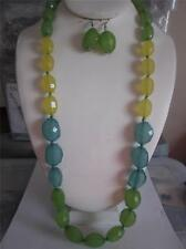 MULTI YELLOW GREEN FACETED LUCITE BEAD GRADUAL LONG NECKLACE SET