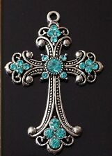 1 Extra Large Rhinestones Antique Silver Blue Cross Charm Pendant 75mm  (TSC105)