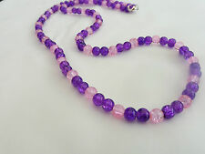 Hand Made Ladies Jewellery Purple & Pink Crackle Beads Necklace - 25 in