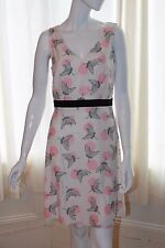 BNWT Cream Pink Black Lace Bird Stork Patterned Dress Size 10 - Dorothy Perkins